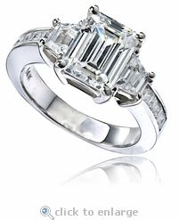 Ziamond cubic zirconia emerald step cut, trapezoid and channel set princess  cut solitaire engagement ring in solid white gold. The Vantage Engagement  ring ...