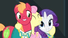 Fluttershy/Flutterguy hugging Rarity and Big Mac
