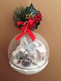 Christmas Snow Globes, Christmas Balls, Christmas Fun, Vintage Christmas, Christmas Wreaths, Globe Ornament, Christmas Ornament Crafts, Christmas Decorations To Make, Cross Stitch Christmas Cards