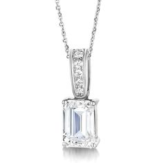 4 claw emerald cut diamond solitaire pendant in a classic timeless emerald cut diamond pendant with diamond loop aloadofball Choice Image