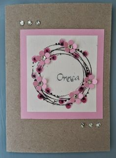 Shabby Chic Wreath, Diy And Crafts, Paper Crafts, Get Well Cards, Pretty Cards, Box Frames, Flower Cards, Greeting Cards Handmade, Diy Cards