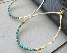 Gold hoop earrings, brass earrings, teardrop earrings,beaded earrings, hammered earring, wire-wrapped blue bead