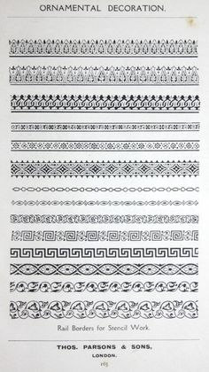 "Rail Stencil designs from the 1909 book, ""Ornamental Decoration"" by F. Scott Mitchell."