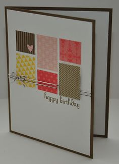 Clean and Simple Birthday Card, with paper scraps and baker's twine