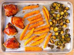Barbecue Chicken and Brussels Sprout Sheet Pan Dinner. This simple dinner of barbecue-glazed chicken, Brussels sprouts and sweet potatoes is assembled and cooked on just one sheet pan, making it an ideal weeknight meal Food Network Recipes, Cooking Recipes, Healthy Recipes, Pan Cooking, Batch Cooking, Free Recipes, Easy Recipes, Cooking Turkey, Clean Recipes