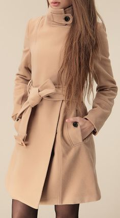 2014 New Fashion Spring/Fall Women Brand Clothing Hot Sale Camel Wide Lapel Belt Oblique Zipper Wool-blend Trench Woolen Coat Vetement Fashion, Langer Mantel, Mein Style, Fashion Beauty, Womens Fashion, Camel Coat, High Collar, Neck Collar, Autumn Winter Fashion