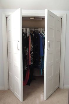 Convert bi-fold doors to swing out doors with this tutorial from Jenna Kate at Home! It's actually really easy to accomplish and you won't have to spend a fortune replacing your doors – which is especially good news if they are a custom height like mine! #closet #doors #bifolddoors #jennakateathome #frenchdoors