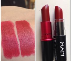 M.A.C Viva Glam 1 and at the right side is the NYX Matte Lipstick is Alabama