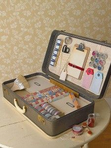 art supplies in a suitcase