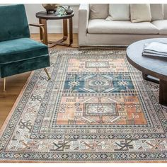 Loon Peak® Ovid Aqua/Copper/Black/Ivory Area Rug