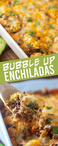 Bubble Up Enchilada Bake! This is the easiest way to make an enchilada casserole and it starts with a can of biscuits! Bubble Up Enchilada Bake! This is the easiest way to make an enchilada casserole and it starts with a can of biscuits! Enchilada Casserole Beef, Enchilada Recipes, Casserole Recipes, Meat Recipes, Mexican Food Recipes, Cooking Recipes, Easy Mexican Casserole, Mexican Entrees, Tortilla Wraps
