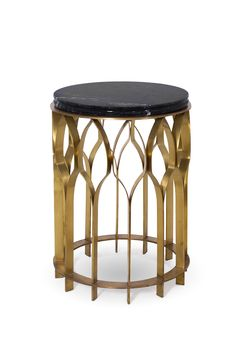 MECCA SIDE TABLE | On the base stands a green marble top, keeping all the structure balanced and united. Handmade modern furniture design.