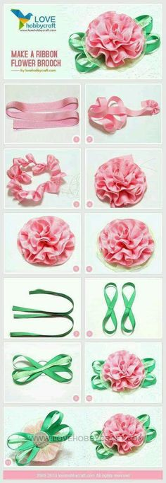 Sewing Fabric Flowers Make a ribbon flower brooch Ribbon Art, Diy Ribbon, Fabric Ribbon, Ribbon Crafts, Flower Crafts, Ribbon Bows, Ribbons, Wired Ribbon, Ribbon Store