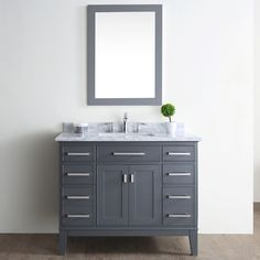 "The Daniel is an elegant transitional style bathroom vanity. This beautiful Danny 42"" Single Bathroom Vanity Set complements the beauty of the Italian carrara marble countertop. The tapered legs and molding add elegance to this piece of furniture."