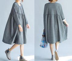 Gray/ black cotton Oversized dress doll long dress by MaLieb