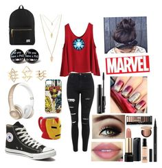 """""""Tony Stark aka Ironman"""" by cedrellablack ❤ liked on Polyvore featuring Topshop, WithChic, Beats by Dr. Dre, Charlotte Russe, Forever 21, Reactor, Herschel Supply Co., Converse, Lancôme and Kevyn Aucoin"""