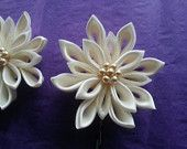 Satin Snowflake Kanzashi Flower - Beige or White - Attached to a hair pin