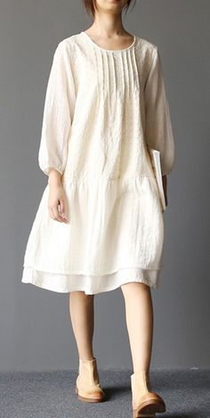 2017 spring layered cotton dresses French vintage causal style