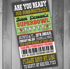 Superbowl Party Invitation Ticket