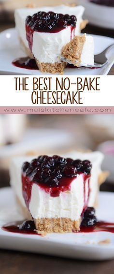 The Best No-Bake Cheesecake Get the recipe for this classic and simple no-bake cheesecake! Rich and creamy, it really is the best no-bake cheesecake ever! - This really is the best no-bake cheesecake on the planet. 13 Desserts, Delicious Desserts, Dessert Recipes, Yummy Food, Dessert Blog, Summer Desserts, Health Desserts, Drink Recipes, Dinner Recipes
