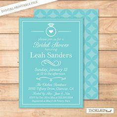 PRINTABLE INVITATION  Tiffany Inspired  bridal shower DIY