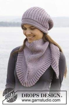 "Knitted DROPS hat and scarf in garter st with English rib in ""Big Merino"". - Free pattern by DROPS Design Knitting Patterns Free, Knit Patterns, Free Knitting, Free Pattern, Knitted Shawls, Crochet Shawl, Knit Crochet, Drops Design, Point Mousse"