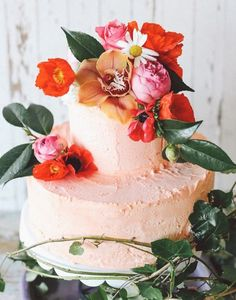 48. This textured frosting looks as delectable as it does pleasing to the eye. Have a few leafy florals to top and we easily have fallen for this cake! See more Indie Wedding Ideas here captured by Lara Hotz Photography.