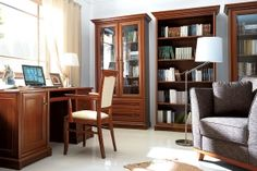Kent BRW Home Office (Library). As in the old mansion... precious chestnut, curved cornices, bottom panels and fronts, subtle handles and bevelled glass in display cabinets. Richness of decorations fills the interior with the spirit of the past. Polish BRW Modern Furniture Store in London, United Kingdom #furniture #polish #brw #homeoffice