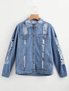Elegant Torn Blue Jeans Jacket For Ladies