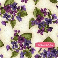 Arabella Natural Violet Plants Yardage <br/>SKU