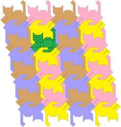 Fancy tessellating cat quilt pattern, tails up.