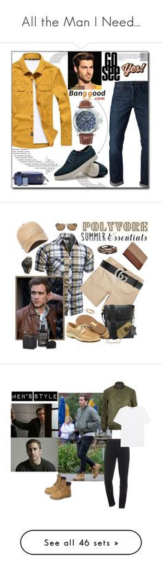 """""""All the Man I Need..."""" by mrs-snow ❤ liked on Polyvore featuring Anya Hindmarch, 3x1, American Eagle Outfitters, men's fashion, menswear, River Island, Sperry, New Era, BOSS Hugo Boss and Gucci"""