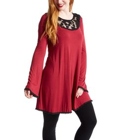 Look at this Maroon Floral-Collar Tunic - Women on #zulily today!