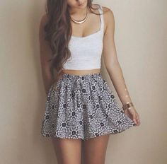 Crop top outfits, skirt outfits, cute outfits, skirt ootd, summer clothes f Style Outfits, Mode Outfits, Skirt Outfits, Casual Outfits, Fashion Outfits, Skirt Ootd, Girly Outfits, Fashion Clothes, School Outfits