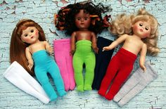 Solid Stretchy Tights for Vogue Ginny dolls in an array of Colors! New at www.karmelapples.com now! Stripes available also. Click the picture to take you there!