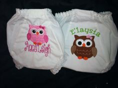 Cutest little Owl Monogrammed Bloomer/diaper by Fancydancyboutique, $11.00