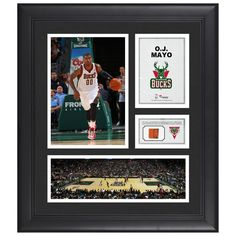 "OJ Mayo Milwaukee Bucks Fanatics Authentic Framed 15"" x 17"" Collage with Team-Used Ball"