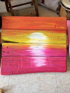 Pink Sunset Pallet Art por TheArtofPeace en Etsy