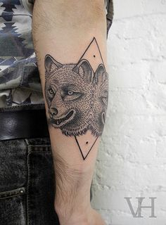 double wolf by valentin hirsch #arm #tattoos