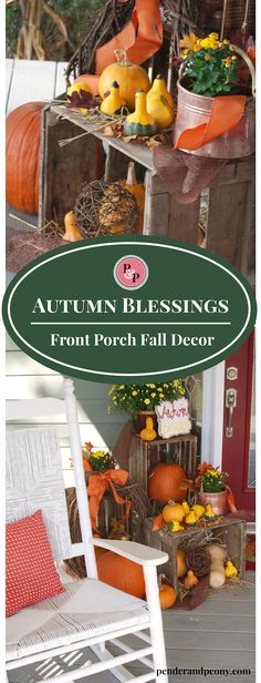 Farmhouse Fall Porch Decor with crates, pumpkins, copper, and mums. Rustic but…