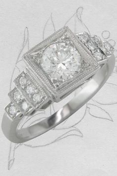 This striking Art Deco style diamond engagement ring is quite the show stopper. The geometric shapes of the diamond square box settings and graduated diamond set stepped shoulders shows the 1930s influence in its ring design. #artdecoengagementring #artdecostyle #diamondengagementring #diamondring #geometricringdesign Art Deco Ring, Art Deco Diamond, Art Deco Jewelry, Engagement Ring Settings, Diamond Engagement Rings, Art Deco Design, Unique Rings, Art Deco Fashion, Geometric Shapes