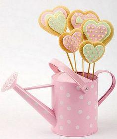 Pastel Polka Dot Cookie Pops in Pink Polka Dot Can Cookie Bouquet, Flower Cookies, Heart Cookies, Cupcake Cookies, Cookie Favors, Baby Cookies, Saint Valentine, Be My Valentine, Cake Pops
