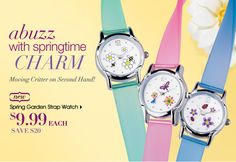 Spring Garden Strap Watch with Moving Critter on Second Hand, only $9.99 each right now!!