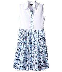Oscar de la Renta Tropical Palm Cotton and Pique Dress (Toddler/Little Kids/Big Kids)