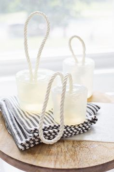 d.i.y. canvas striped dish towels and nautical soap on a rope.