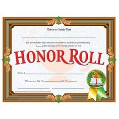 Honor Roll Certificate! 30/pack Downloadable templates available ...