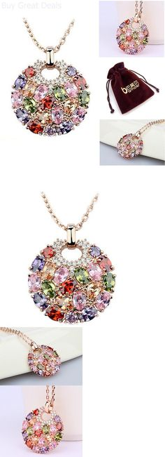 Christmas Gift Ideas: 18K Rose Gold Plated Round Jewelry Women Pendant Necklace Fashion Christmas Gift BUY IT NOW ONLY: $22.37