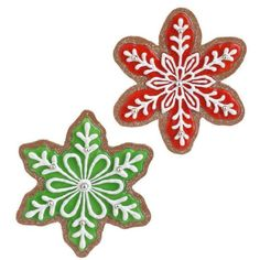 - RAZ Gingerbread Snowflake Cookies- Add these wonderful gingerbread cookies to your gingerbread houses and trees for a delightful holiday display. - They over foot long, so they are quite la Christmas Ornament Sets, Christmas Goodies, Christmas Treats, Christmas Baking, Christmas Fun, Galletas Cookies, Iced Cookies, Gingerbread Decorations, Gingerbread Houses