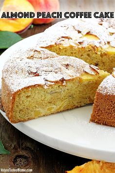 Who can resist a slice of this absolutely scrumptious Almond Peach Coffee Cake? It's light, fluffy, airy, moist, and loaded with peaches. The aroma of almond extract is phenomenal! Then topped and toasted almond slivers, making this cake not only beautiful but gives it a boost in taste as well.  Every bite just melts in your mouth. #almondpeachcoffeecake #peachcoffeecake #easyrecipe #peachcake #valyastasteofhome | www.valyastasteofhome.com Yummy Eats, Yummy Food, Delicious Recipes, Amazing Recipes, Cake Recipes, Dessert Recipes, Desserts, Flour Recipes, Peach Coffee Cakes