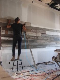 used wood on walls I want this in my living room and dining area! Diy Furniture, Furniture Design, Salvaged Wood, Restaurant Design, Wood Design, Barn Wood, Rustic Wood, Interior And Exterior, Home Improvement